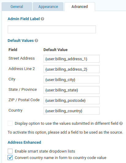 Loading a customer's address from WooCommerce fields using merge tags