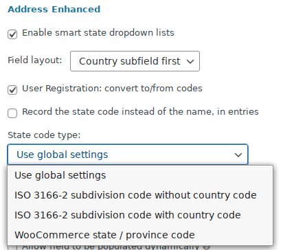 Advanced settings: convert country name to code